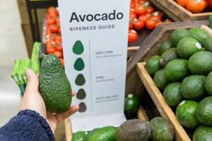 Avocado Ripeness Guide: Man hält eine grüne Avocado in der Hand und bestimmt den Reifegrad im Biosupermarkt Whole Foods Market