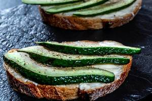 Avocado sandwich on dark rye bread