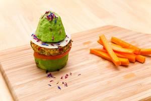 Avocado-Veggie Burger with Carrot Sticks