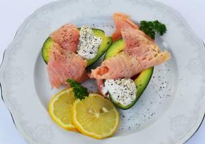 Avocado with smoked salmon