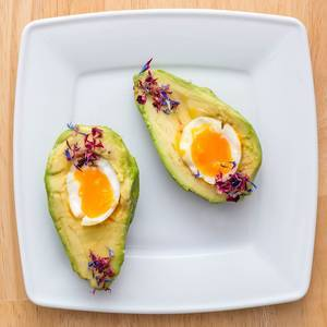 Avocado with soft-boiled egg