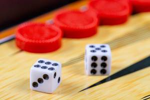 Backgammon game. Game dice lie on the backgammon board against the background of checkers (Flip 2019)