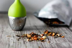 Bag of Tea and Infuser Close-up