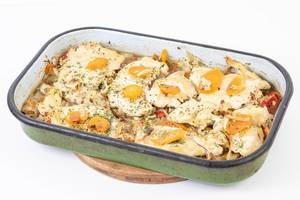 Baked Chicken Breasts with Carrots in the baking tray (Flip 2019)