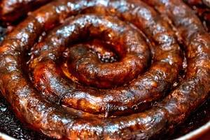 Baked homemade sausage close up