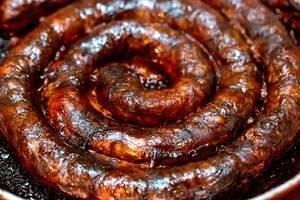 Baked homemade sausage close up