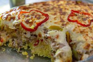 Baked rice casserole with bellpepper