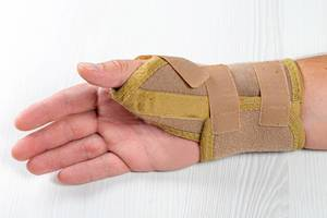 Bandage on the wrist of a man with a bruised hand (Flip 2019)