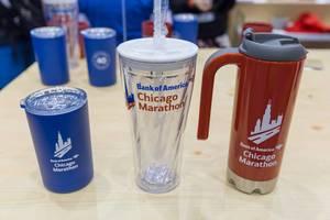 Bank of America Chicago Marathon Becher, Glas mit Deckel und Kanne