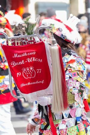 Banner des Vereins Musikzug Bunt-Weiss - Kölner Karneval 2018