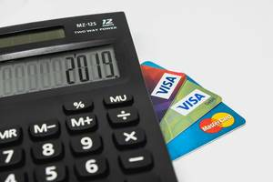 Basic calculator with credit cards below