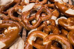 Bavarian delicacy: A bunch of pretzels with salt