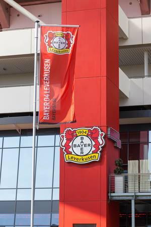 Bayer Leverkusen Flagge und Wappen