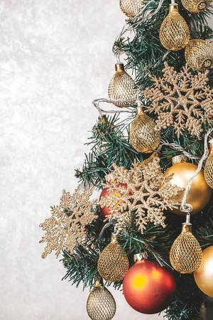 Beautiful decorated Christmas tree on a light background (Flip 2019)