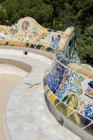 Beautiful mosaics bench in Guell park, Barcelona