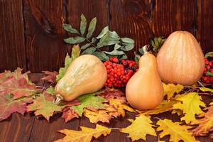 Beautiful pumpkins with colorful autumn leaves on old wooden background