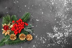 Beautiful winter holiday background with free space, decor and snow (Flip 2019)