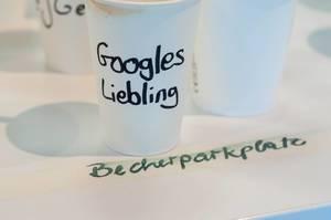 Becher von Googles Liebling am Becherparkplatz beim Barcamp Köln 2018