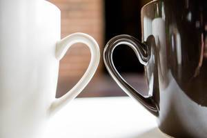 Beige and brown cup handles