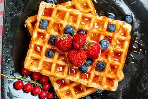 Belgian or french waffles for breakfast