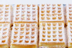 Belgian square waffles with powdered sugar