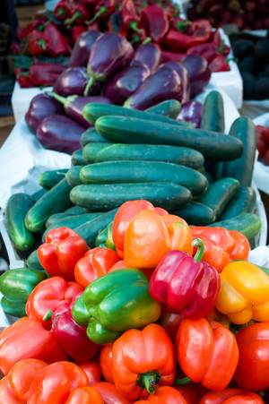 Bell peppers, cucumbers, and egg plants