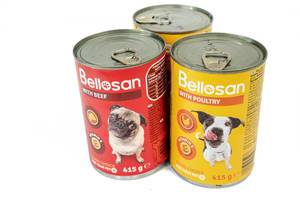 Bellosan Dog Food cans isolated above white background