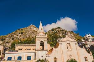 Belvedere of Taormina and San Giuseppe church on the square Piazza IX Aprile in Taormina. Morning, outdoor. (Flip 2019)