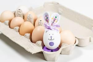 Bemaltes Kaninchen-Ei in einem Karton mit nicht bemalten Eiern