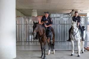 Berittene Polizei während der Fußball-Weltmeisterschaft 2018 in Russland