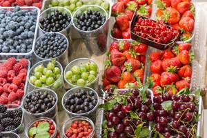 Berries and other kinds of fruit at Danilovsky Market in Moscow