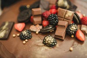Berries, Chocolate, Oreos And Berries On Top Of A Cake