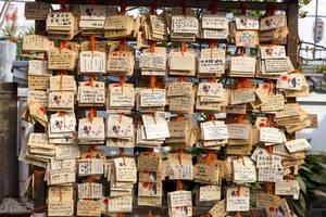 Beschriftete Holzschilder vor dem Tempel 摩利支天 徳大寺 in Ueno