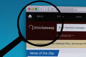 BibleGateway logo under magnifying glass