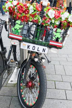 Bicycle decorated with artificial flowers