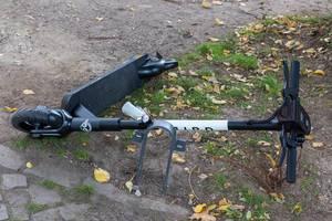 Bird Elektroroller auf dem Gehweg neben einer Grünfläche umgefallen auf dem Boden liegend