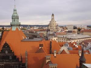 Bird-eye view of city of Dresden, Germany
