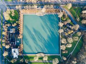 Birds View Drone Shot of Aachener Weiher Pond in Cologne, Germany