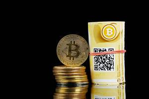 Bitcoin, coins and banknotes, black background