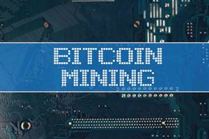 Bitcoin Mining text over electronic circuit board background