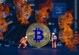 Bitcoin mining with fire flames