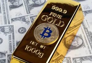 Bitcoin mit Goldbarren und Geld
