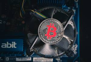 Bitcoin on a cooling computer fan