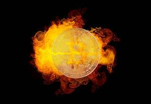 Bitcoin with fire