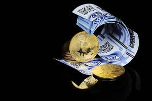 Bitcoins, virtual money on black background