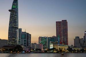 Bitexco Financial Tower and District 1 at the end of Golden Hour in Saigon