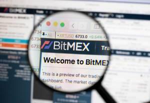 Bitmex-Logo am PC-Monitor, durch eine Lupe fotografiert