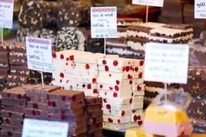 Black and white homemade chocolate bars at Sibiu Christmas market (Flip 2019)