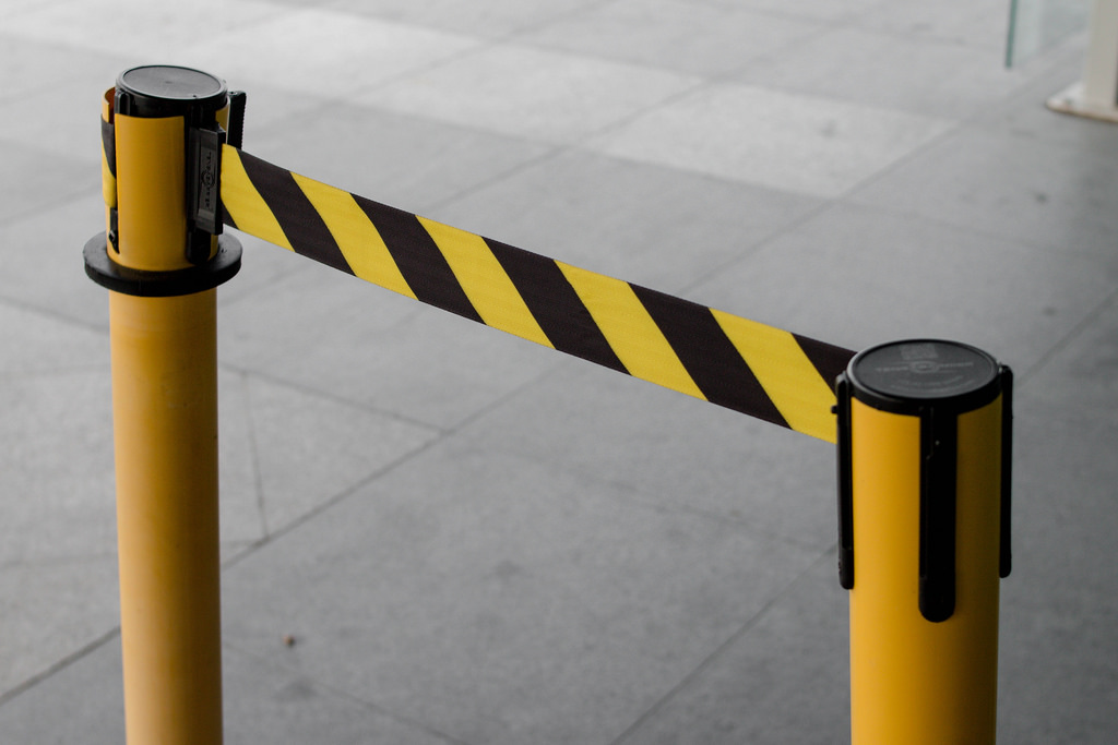 Black and Yellow Lines of barrier tape