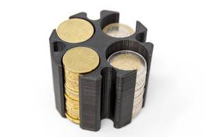 Black coin holder made with a 3D printer for Euro Coins on white ground